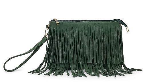 399d30cdd944 Hoxis Fringe Cross Body Bag Womens Small Shoulder Bag Top Zip Wristlet  (Green)