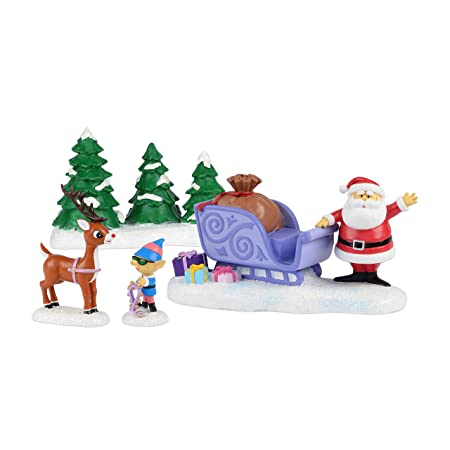 Department 56 Rudolph Will Lead Figurine, 3 inch Set of 4