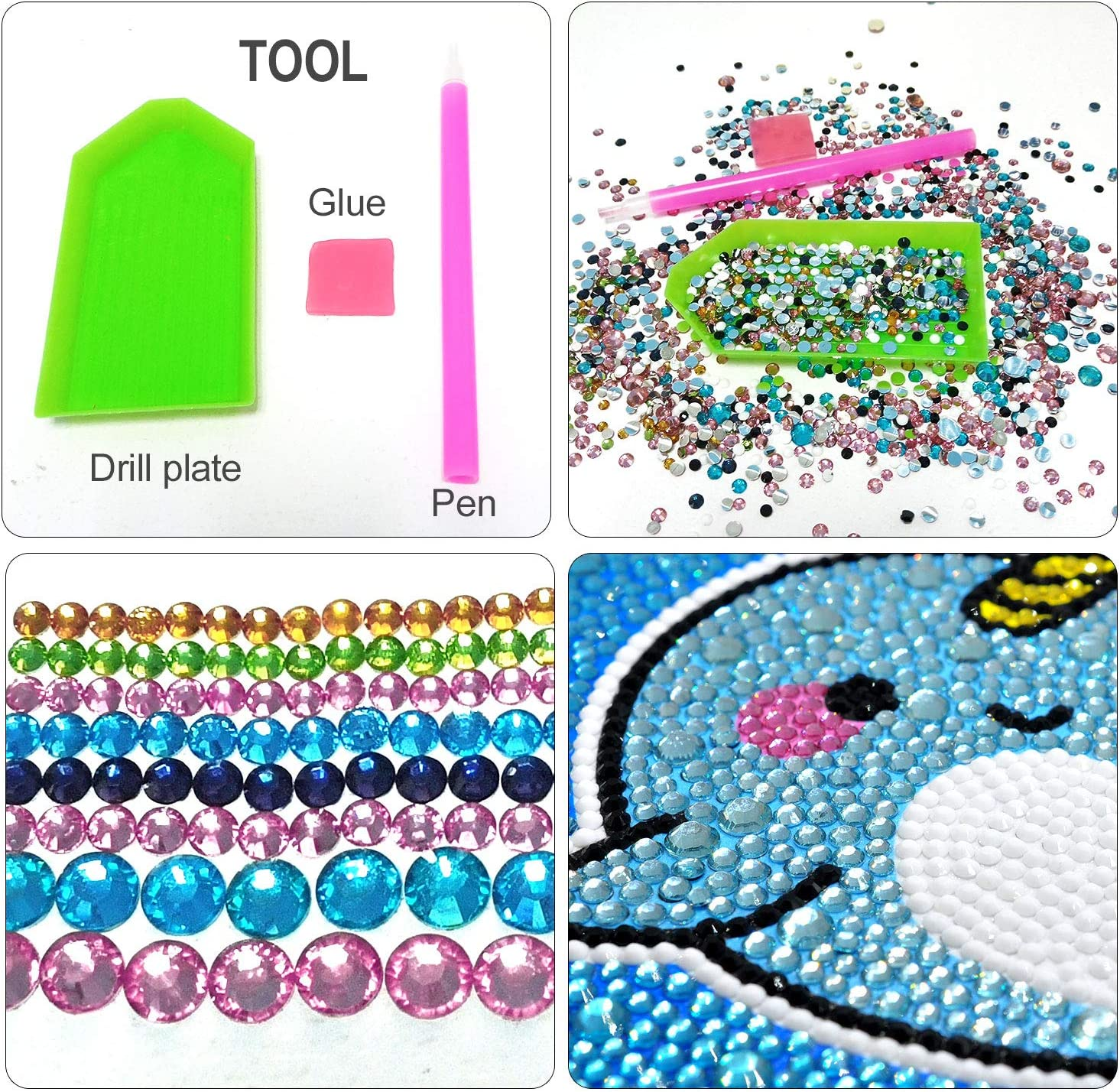 Caferria 5D Diamond Painting Kit for Kids Easy and Small DIY Full Drill Painting by Number Kits Best Gift for Children Rhinestone Embroidery Home Wall Decor with Wooden Frame Unicorn
