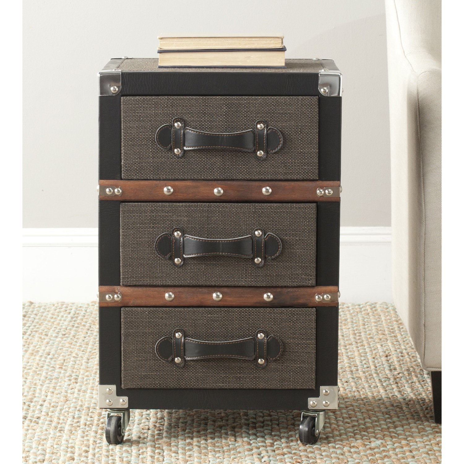 Safavieh Home Collection Lewis Black, Brown & Silver 3 Drawer Rolling Chest