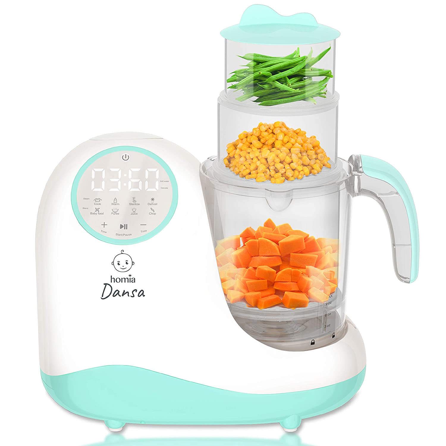 NOT for USA 220V - Baby Food Maker Chopper Grinder - Mills and Steamer 8 in 1 Processor for Toddlers - Steam, Blend, Chop, Disinfect, Clean, 20 Oz Tritan Stirring Cup,Touch Control Panel,Auto Shut-Off