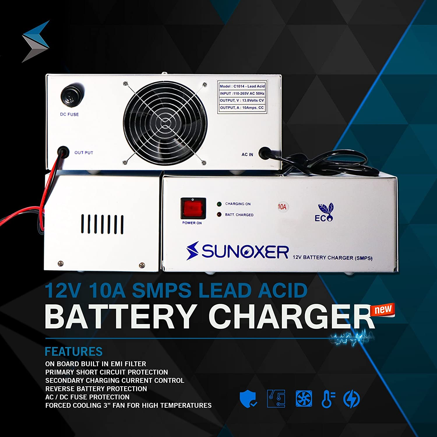 Eco Charger 12v 10a Inverter Generator Battery Lead Acid Automatic Circuit Electronic Car Motorbike