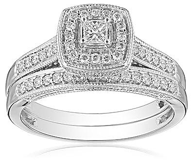 Amazoncom IGICertified 14k White Gold PrincessCut Diamond