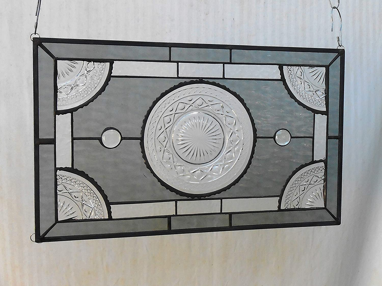 OOAK Recycled Depression Glass, Imperial Cape Cod Depression Glass Stained Glass Window Panel, Antique Transom Window, Vintage Glass Valance