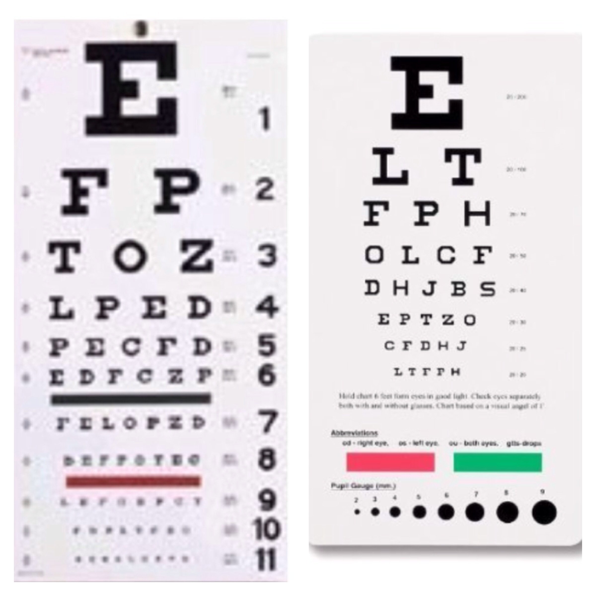 EMI Snellen Eye Wall Chart 22'' By 11'' AND Snellen Eye Pocket Chart 6 3/8'' By 3 1/2'' - 2 Piece Combination Pack