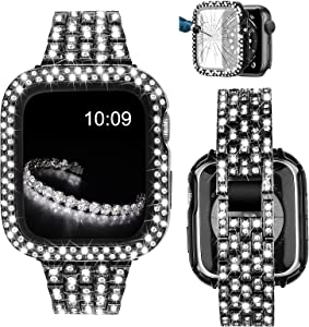 V-MORO Bracelet Compatible with Apple Watch Band 40mm Series 6 with Screen Protector Case, Jewelry Bling Diamond Metal Strap and Full Cover Protective Case for iWatch Series SE/5/4 40mm Women Black