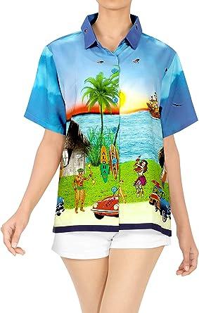 LA LEELA Camisa Hawaiana de Manga Corta con Botones de Cuello de Peso Ligero de la Mujer