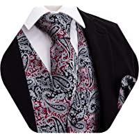 YOHOWA Mens Formal Suit Vest Paisley Waistcoat with Necktie Pocket Square Cufflinks or Bow Tie