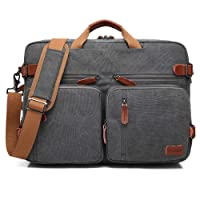 Bolso de hombro CoolBELL convertible en mochila para guardar ordenadores portátiles. Maletín de negocios multi funcional. Mochila de viaje para guardar ordenadores portátiles de 15,6 pulgadas (39,6 cm.) Unisex (Lienzo Gris)