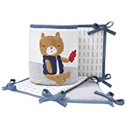 Lambs & Ivy Little Campers Bear and Fox 4 Piece Crib Bumper - Blue/Gray Woodland/Camping