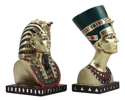 Ebros - Juego de 2 Figuras Decorativas con diseño de máscara Dorada de faraón Egipcio King Tut and Queen Nefertiti: Amazon.es: Juguetes y juegos