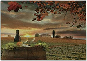 Lunarable Winery Cutting Board, White Wine with Cask on Vineyard at Sunset in Chianti Tuscany Italy, Decorative Tempered Glass Cutting and Serving Board, Small Size, Apple Green