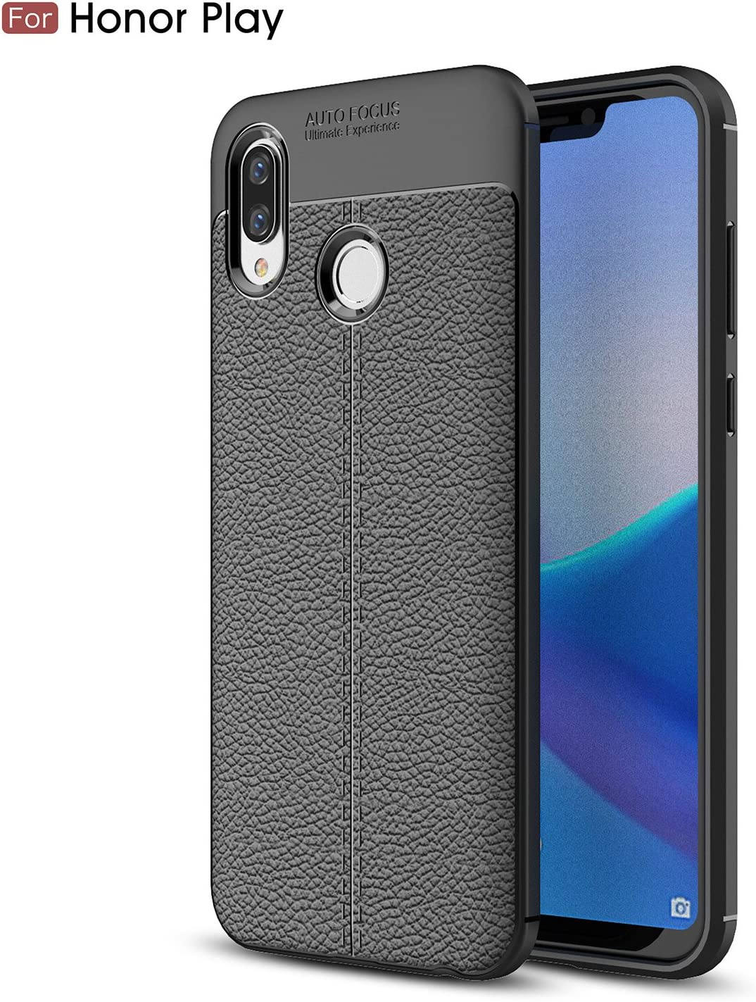 Cruzerlite Honor Play Custodia, Flexible Slim Case with Leather Texture Grip Pattern and Shock Absorption TPU Cover for Huawei Honor Play (Black): Amazon.es: Electrónica
