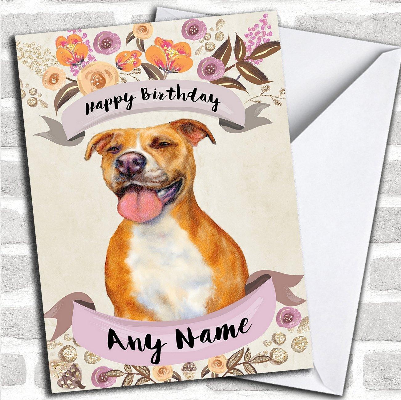 Amazon.com : Rustic Gold Dog Pitbull Personalized Birthday Card ...