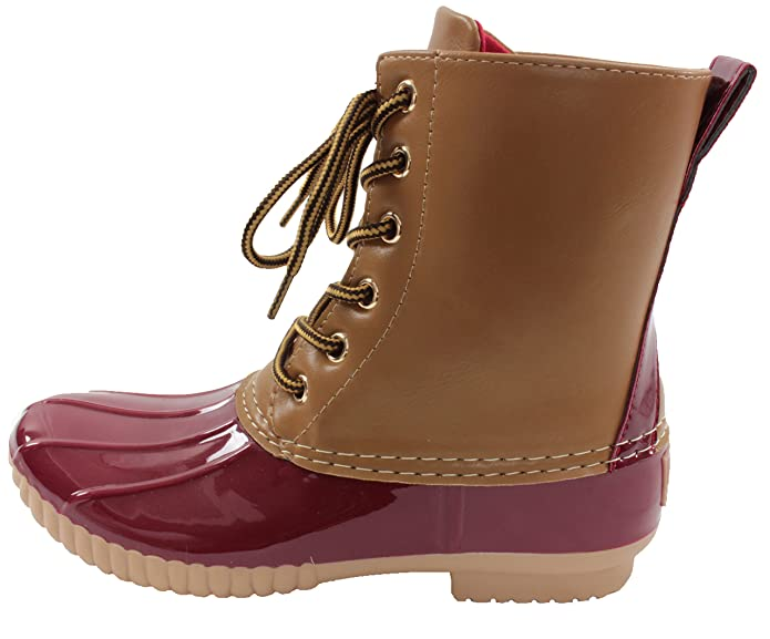 8df54e121 Amazon.com | Avanti Women's Rosetta Duck Boots-Waterproof Rainboots (8,  Red) | Rain Footwear