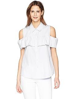 42640e182a3d4 Calvin Klein Women s Stripe Oxford Blouse Cold Shoulder at Amazon ...