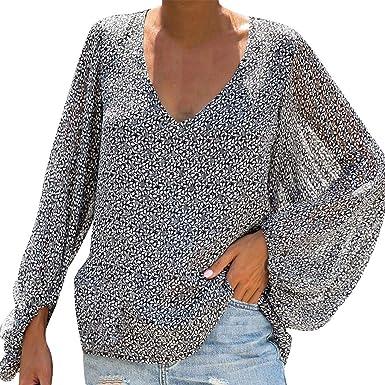 QinMMROPA Camisa Floral Suelta para Mujer Camisetas de Manga Larga Blusa con Cuello en V Tops t-Shirt: Amazon.es: Ropa y accesorios