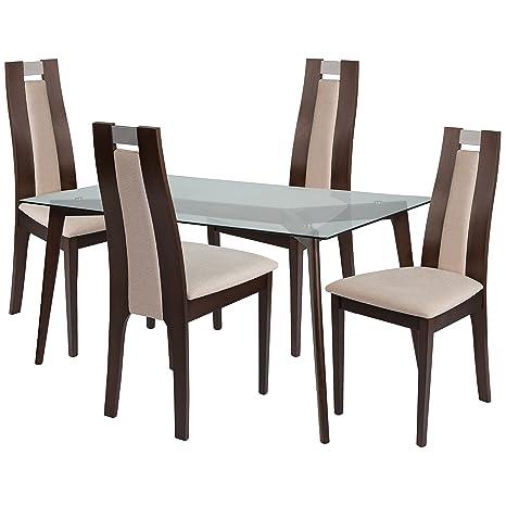 Incredible Flash Furniture Patterson 5 Piece Espresso Wood Dining Table Set Clear Espresso Beechwood Frankydiablos Diy Chair Ideas Frankydiabloscom