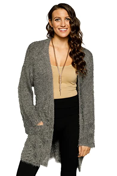 Hadari Women's Fuzzy Open Front Belted Cardigan Sweater at Amazon ...