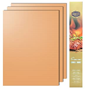 Aoocan Copper Grill mat, Set of 3 - Grill mats Non Stick, BBQ Grill & Baking mats - Reusable and Easy to Clean - Works on Gas, Charcoal, Electric Grill, Gold