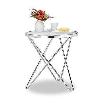 Relaxdays Beistelltisch Glas Medium Chrom Milchglas Couchtisch