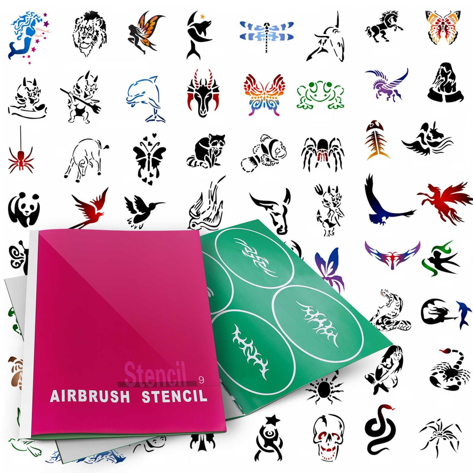 PointZero Temporary Tattoo Airbrush Stencils 100 Designs - Book 9