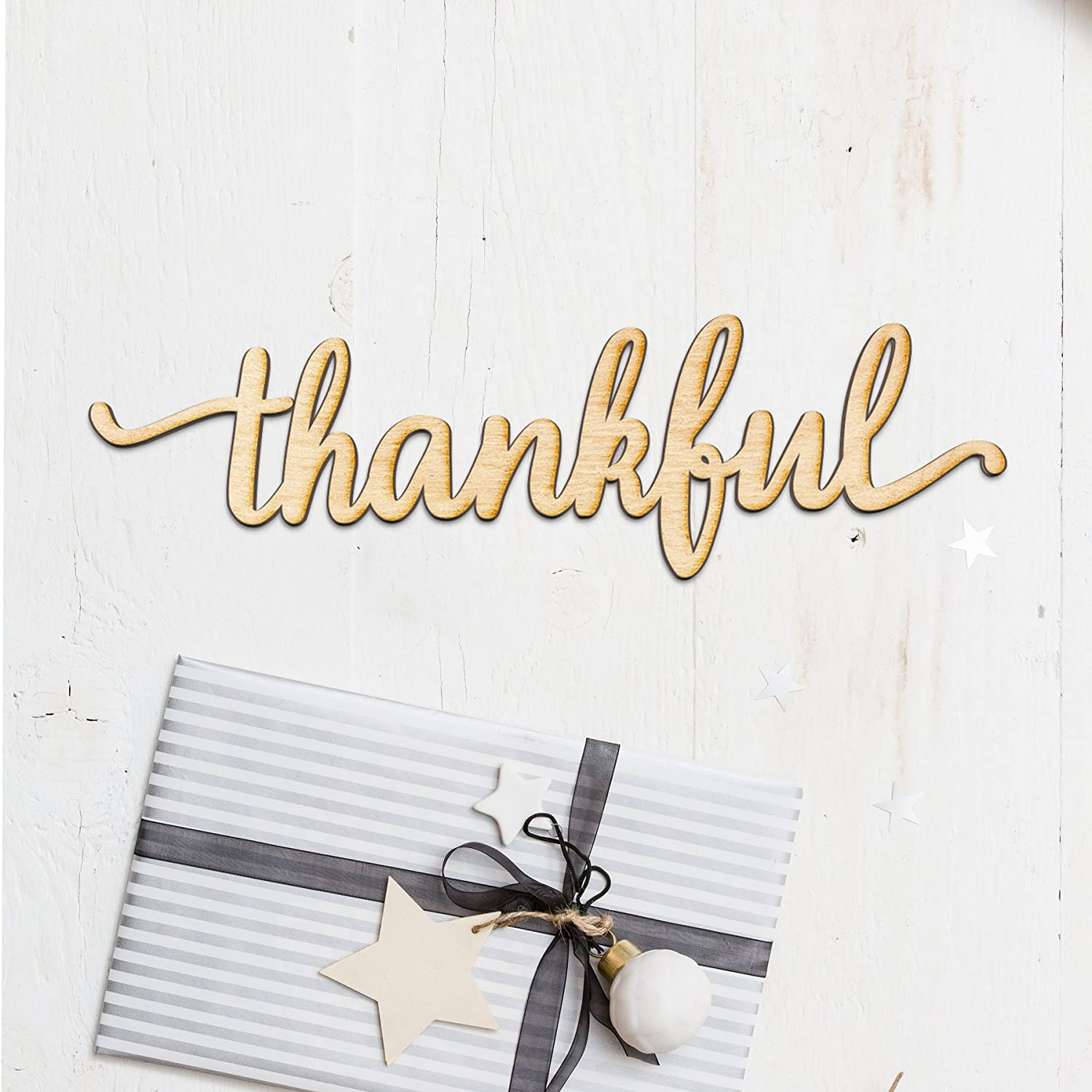 Thankful Script Wood Sign Home Decor Wall Art Unfinished Charlie 12 X 3 Home Kitchen