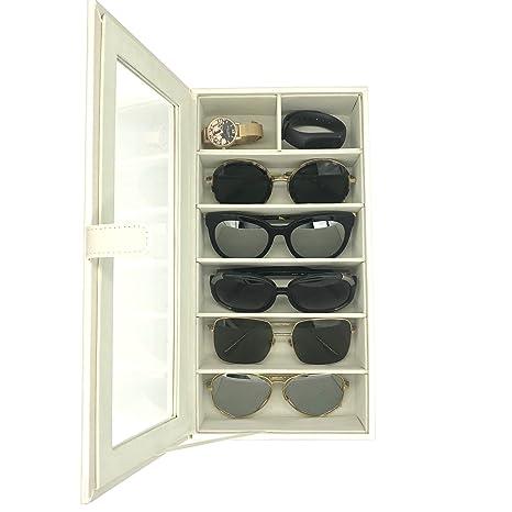 UnionPlus 5 Ranuras Soporte para Gafas, Diseño de Gafas de Sol Gafas Organizador colector – Cocodrilo Piel Sintética Caja de Almacenamiento Caso, Piel ...