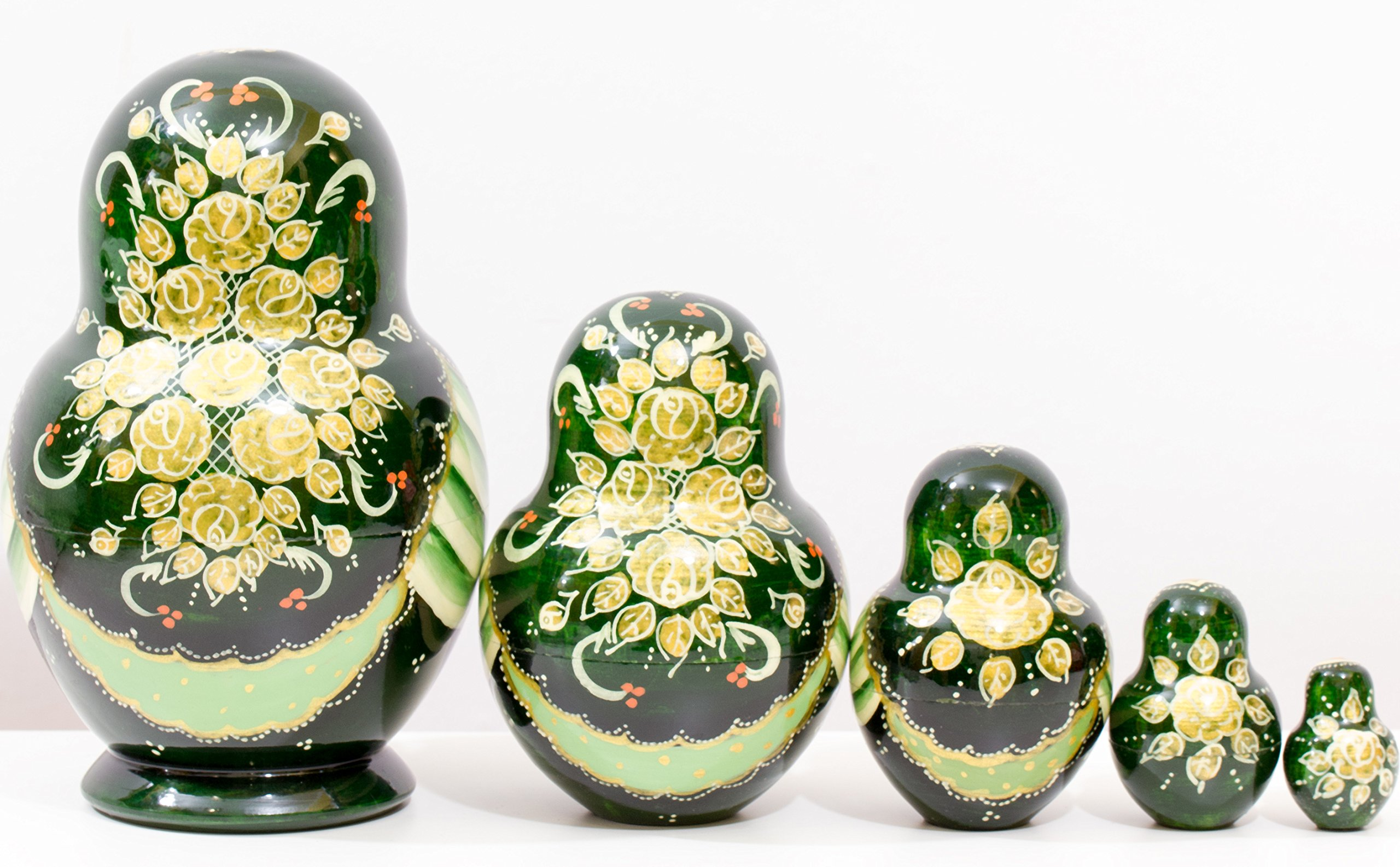 Russian Nesting Doll - Anastasia - Hand Painted in Russia - Traditional Matryoshka Babushka (6``(5 Dolls in 1), Green) by craftsfromrussia (Image #3)
