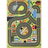 """Melissa & Doug Jumbo Roadway Activity Rug (4 Wooden Traffic Signs, Oversized Multi-Roadway Activity Rug, Soft, Durable Material, 79""""L x 60""""W)"""