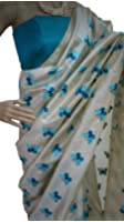 Latest New Designer Casual Party Ceremony Wear Fancy New Summer Ethnic Wear Collection 2018 Embroidered Butterfly Titli Pure Chanderi Cotton Silk Saree With Unstitched Blouse Piece (Color: Turquoise)