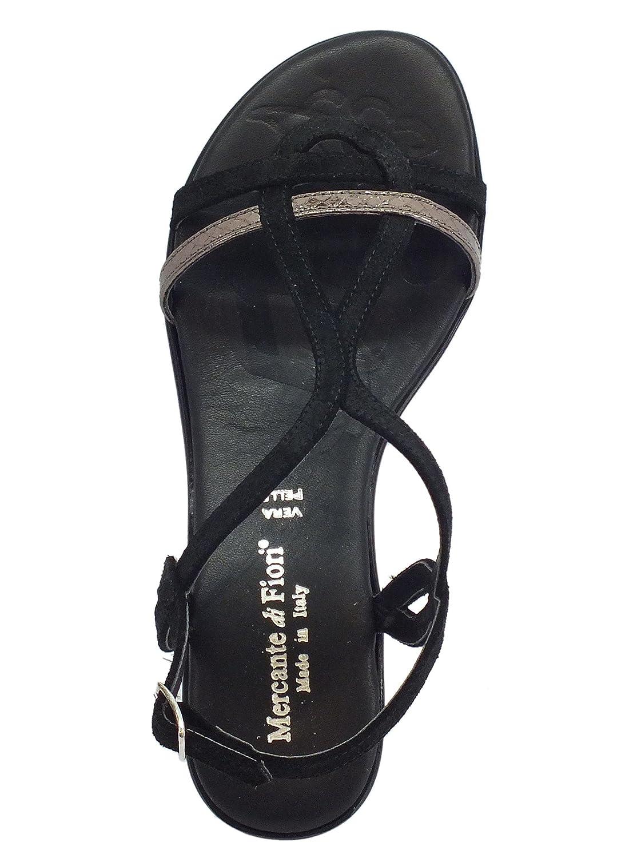 Mercante di Fiori Sandali camoscio e Pelle Pelle Pelle Laminata Nera Tacco Basso c98b2e