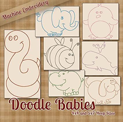 Amazon Doodle Babies Cute Baby Animals Redwork Embroidery