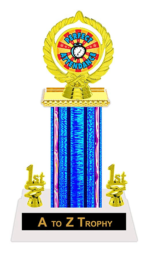 Perfect Attendance Trophy Awards 11 1 2quot School Academic Education Trophies Free Engraving Color