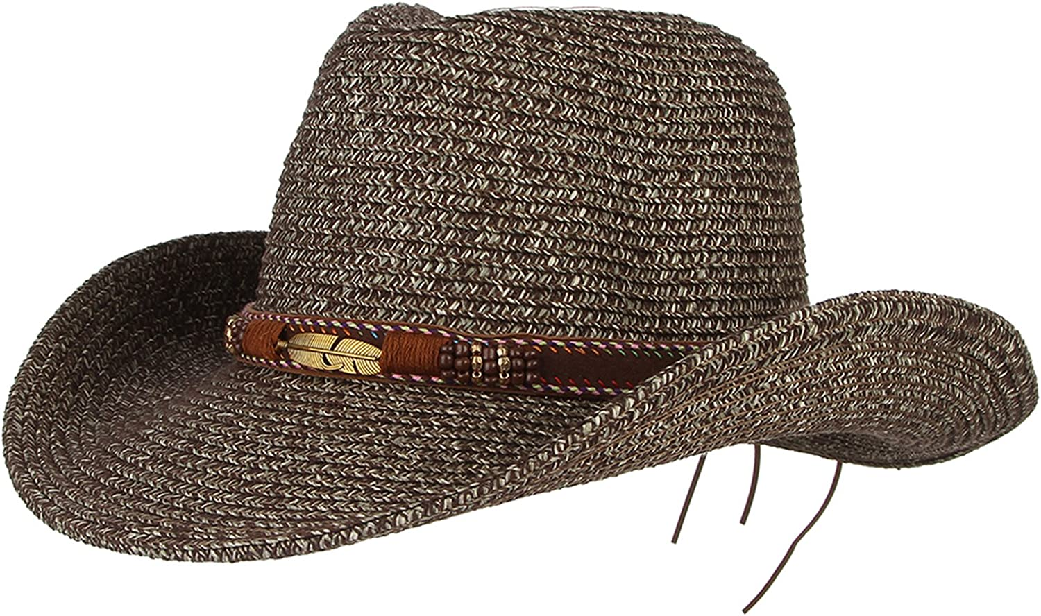 GEMVIE Cowboy Hat Floppy Sun Hat Straw Summer Beach Cap Wide Brim Straw Hats