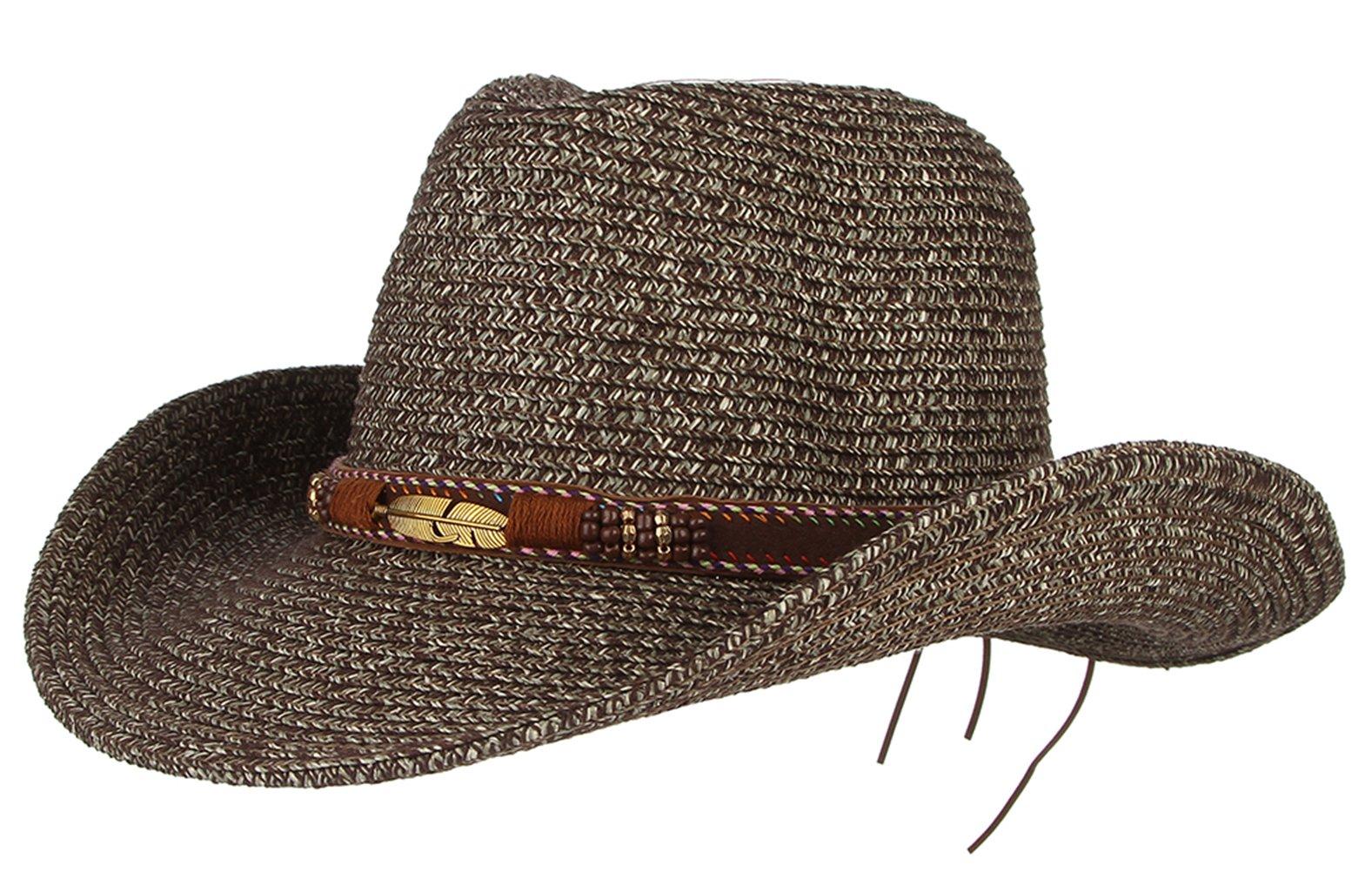 Gemvie Cowboy Hat Floppy Sun Hat Straw Summer Beach Cap Wide Brim Straw Hats Grey