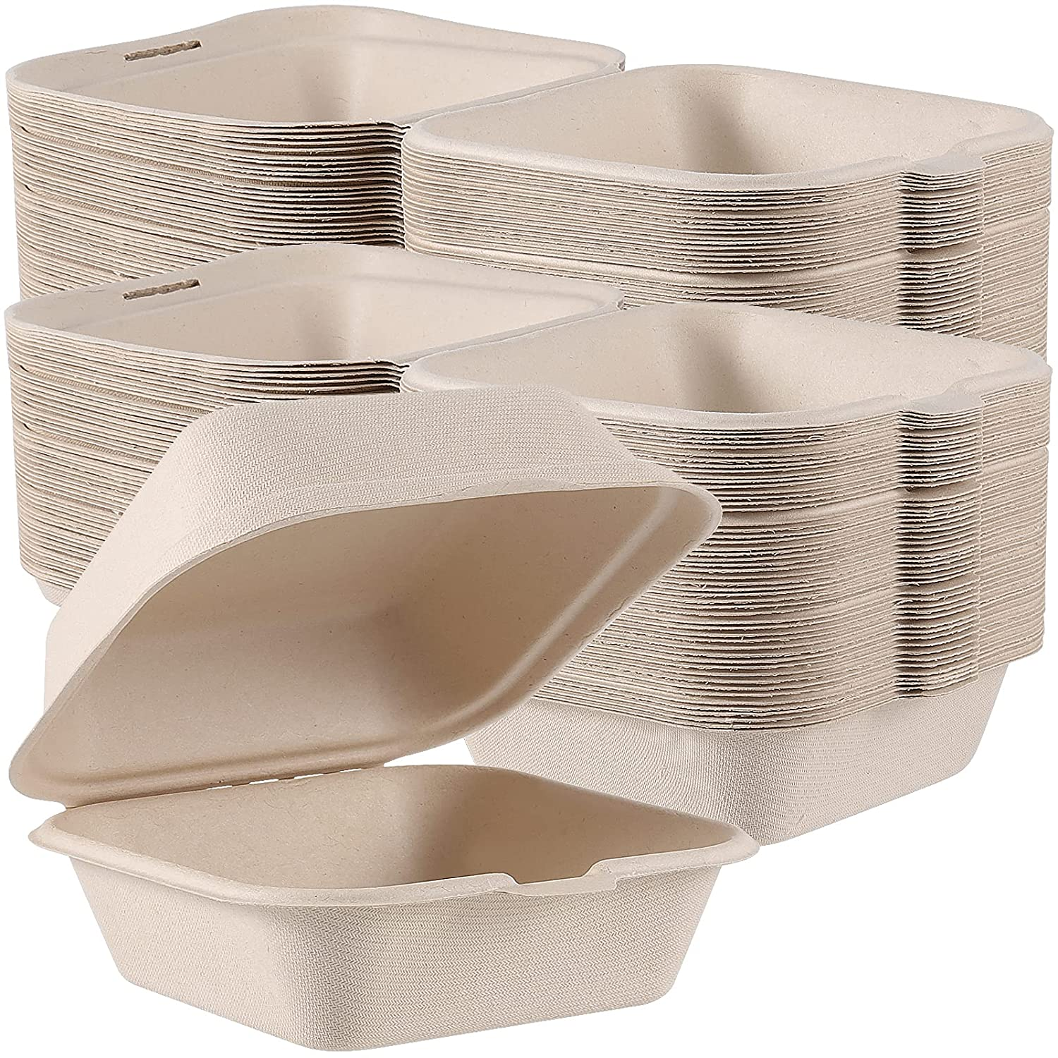 HAKZEON 100 PCS 6 x 6 Inches Clamshell to Go Boxes, Compostable Clamshell Takeout Containers with Hinged Lids, Anti-Grease Microwavable Container Boxes for Restaurants, Food Trucks, Wedding