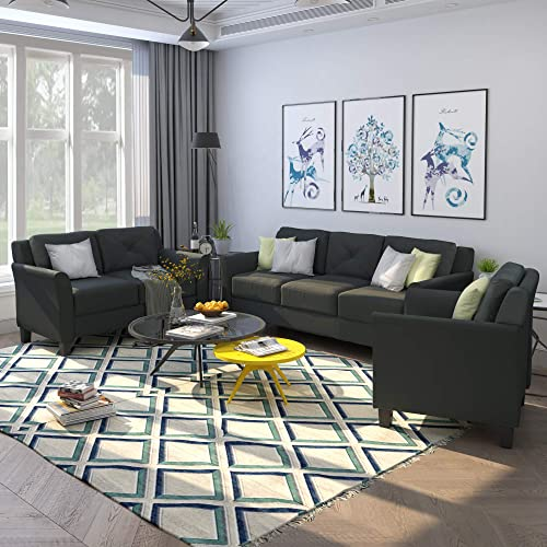 Harper Bright Designs Living Room 3 Piece Sofa Couch Set,3 Seats Loveseat Single Chair Sectional Sofa Set, Black