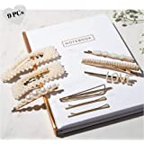 Pearl Hair Clip - 9 Hair Accessories for Women - Bobby Pins Pearl Hair Clips for Women & Hair Barrettes for Women - Large Gold Hair Pin with Rhinestone - Love Hair Pins - Hair Clips for Girls