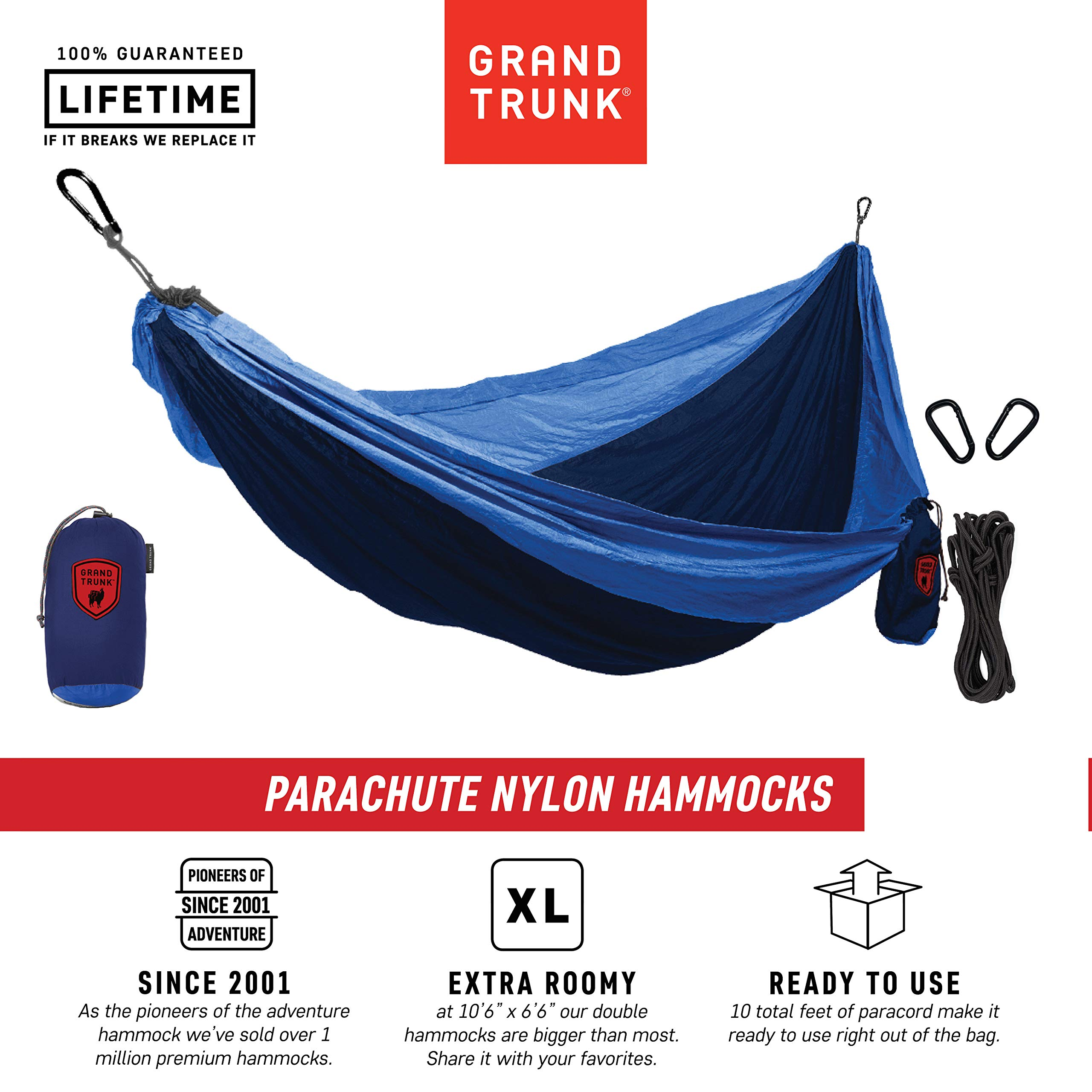 Grand Trunk Hammock - Camping Double, Tree Hanging Kit Included, Nylon, Portable, Indoor Outdoor, Travel, Backpacking, Survival, Navy/Light Blue by Grand Trunk