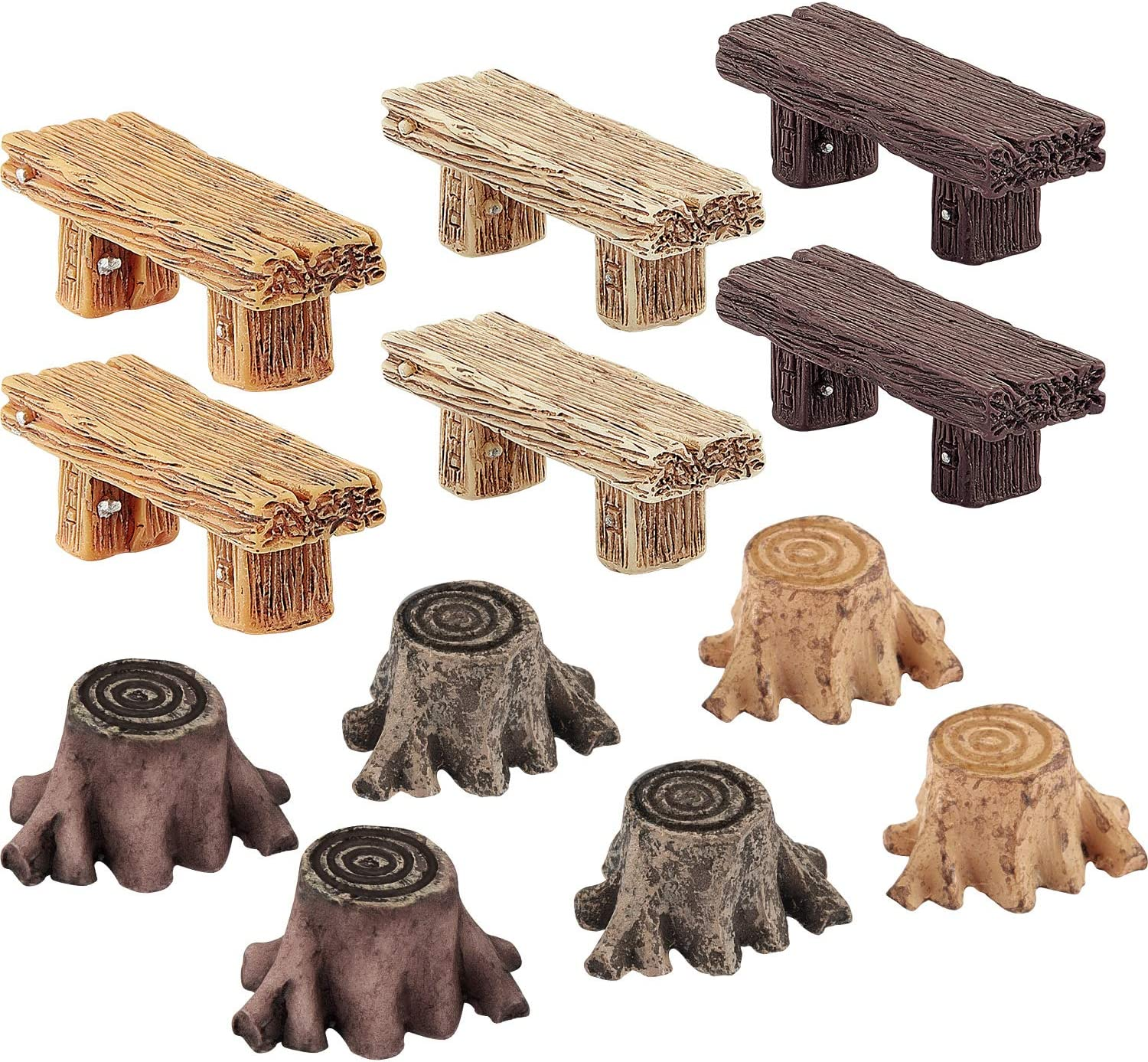 12 Pieces Miniature Fairy Garden Ornaments, Includes 6 Pieces Retro Wooden Style Benches, 6 Pieces Artificial Mini Root Stump for Moss Terrariums Landscape Dollhouse Accessories Decorations