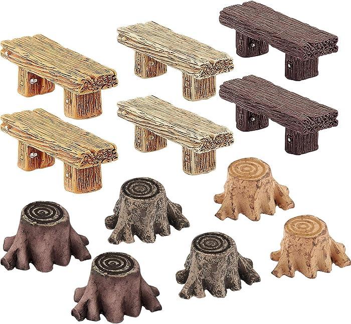 12 Pieces Miniature Fairy Garden Ornaments, Includes 6 Pieces Retro Wooden Style Benches, 6 Pieces Artificial Mini Root Stump for Moss Terrariums Landscape Dollhouse Accessories Decorations