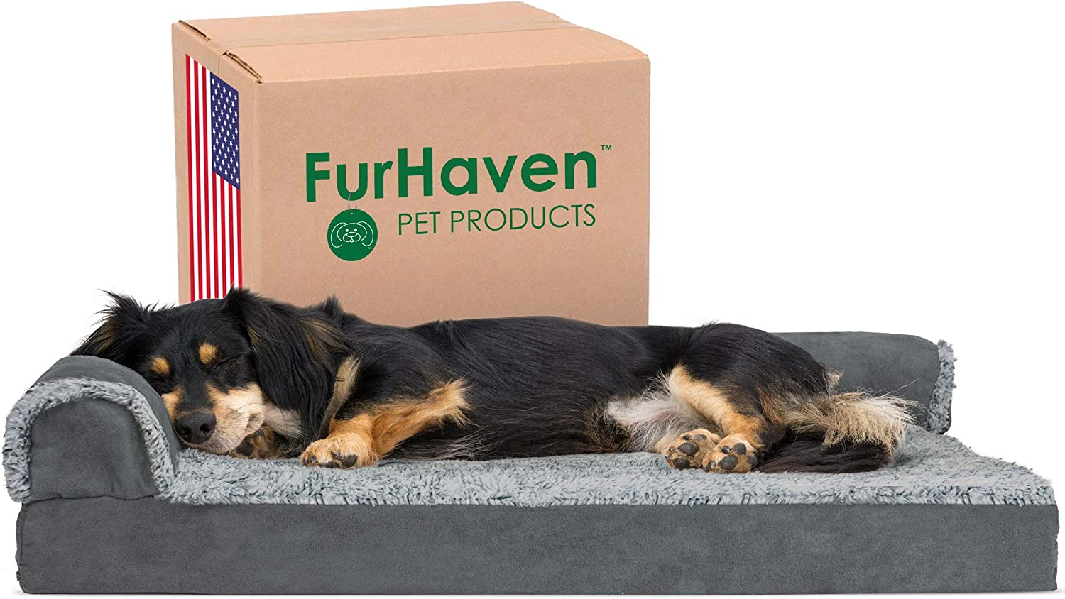 Furhaven L Shaped Orthopedic Washable Dog bed