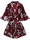 SweatyRocks Women's Boho Floral Print V Neck Beach Shorts Romper Jumpsuit with Belt