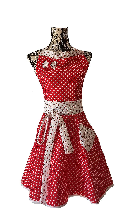 tablier de cuisine femme rétro et glamour à petit pois rouge et cerises