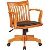 OSP Home Furnishings Deluxe Wood Bankers Desk Chair with Black Vinyl Padded Seat, Fruit Wood