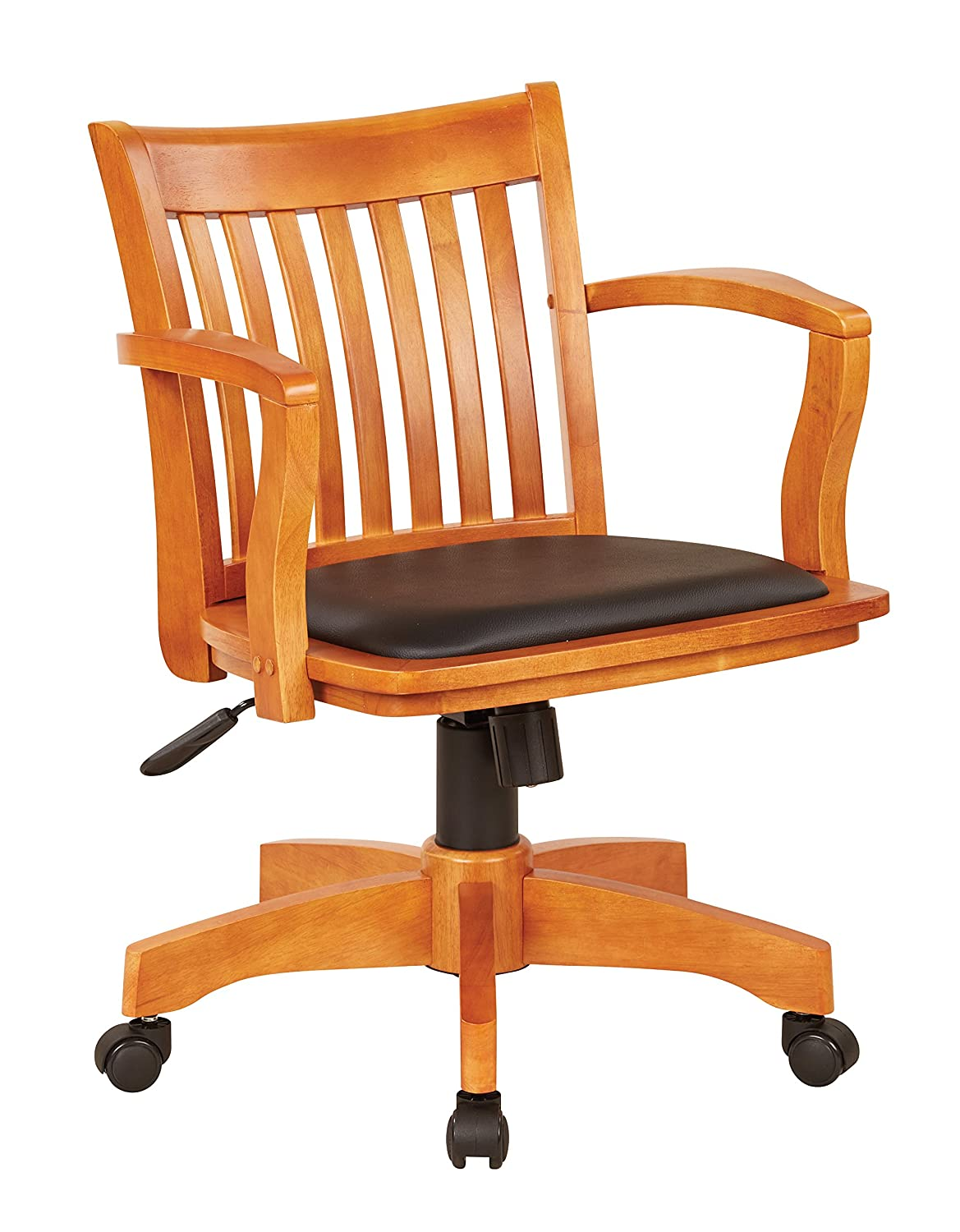 Etonnant Amazon.com: Office Star Deluxe Wood Bankers Desk Chair With Black Vinyl  Padded Seat, Fruit Wood: Kitchen U0026 Dining