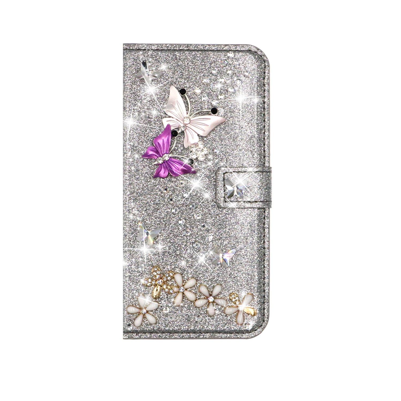 QC-EMART Cover per Samsung Galaxy S7 Edge Custodia in Pelle Viola Glitter Paillette Luccichio Farfalla Portafoglio Porta Carta Guscio Caso Case Protettiva Custodie Cellulari per Ragazza