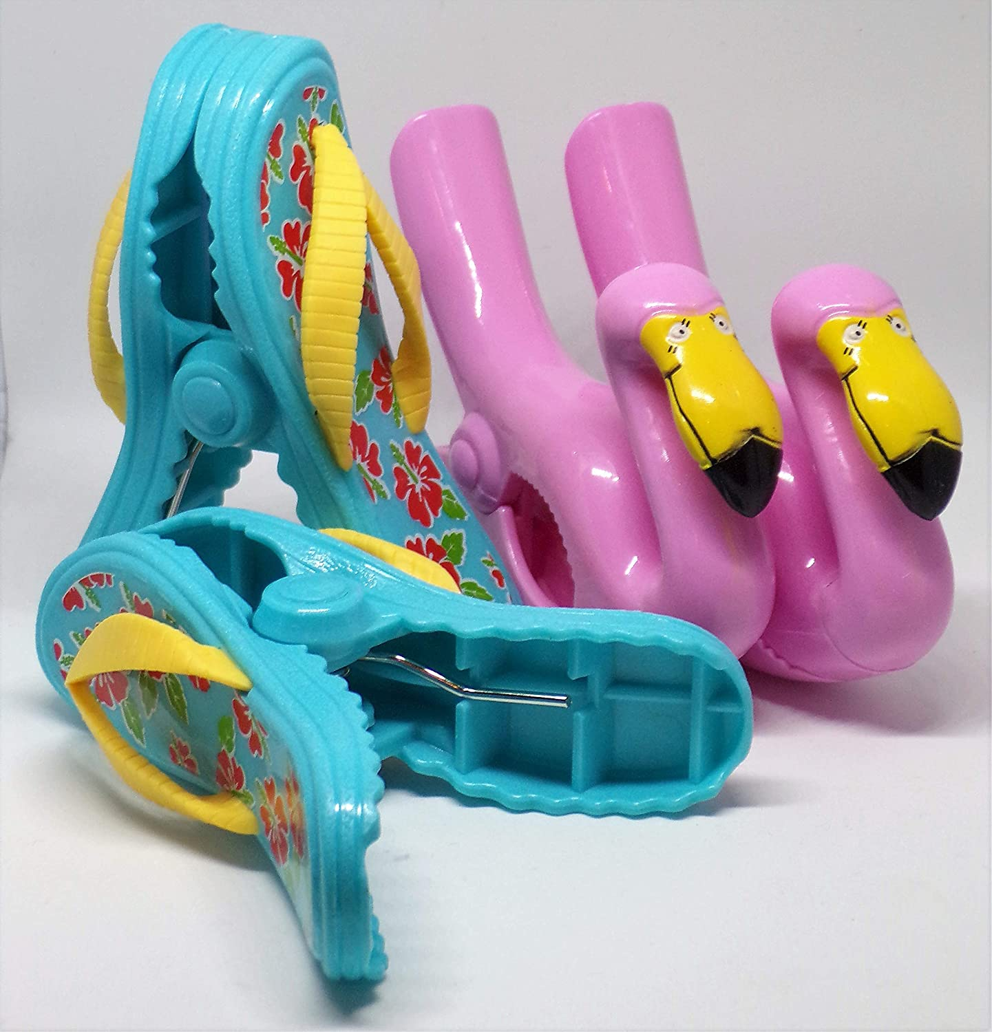 Beach Towel Clips Boca style - 2 pairs Flip flops and Flamingo .