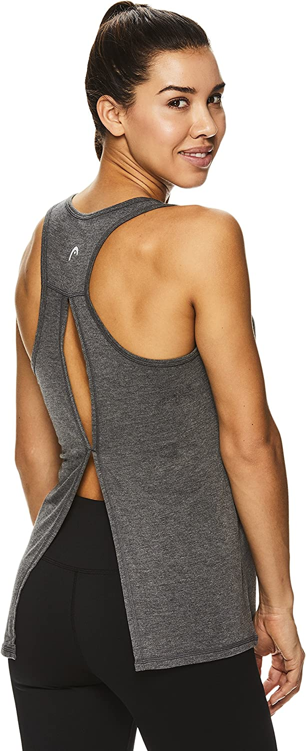 Ladies Activewear Shirt w//Open Back Detail HEAD Womens Racerback Workout Tank Top